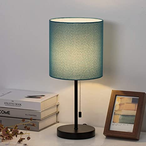 Haitral Modern Table Lamp Simple Desk Lamp With Fabric Shade Pull Chain Switch Stick Lamp For Bedroom Living Room Office Den Dark Blue