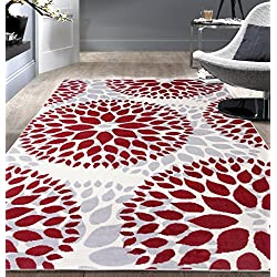 "Rugshop Modern Floral Circles Design Area Rug, 6' 6"" x 9', Red"