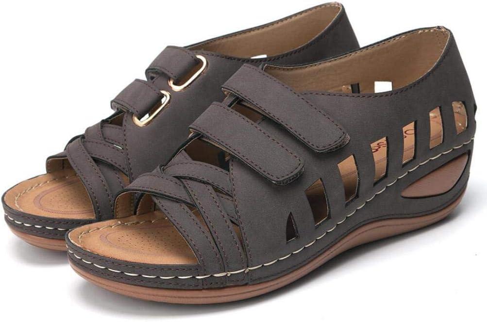 ZYLL Vintage Leather Mujer del Verano Sandalias De La Hebilla Casual Cruz Ventilationwomen Zapatos Femeninos Señoras De La Plataforma Sandalias Retro Plus 35-44