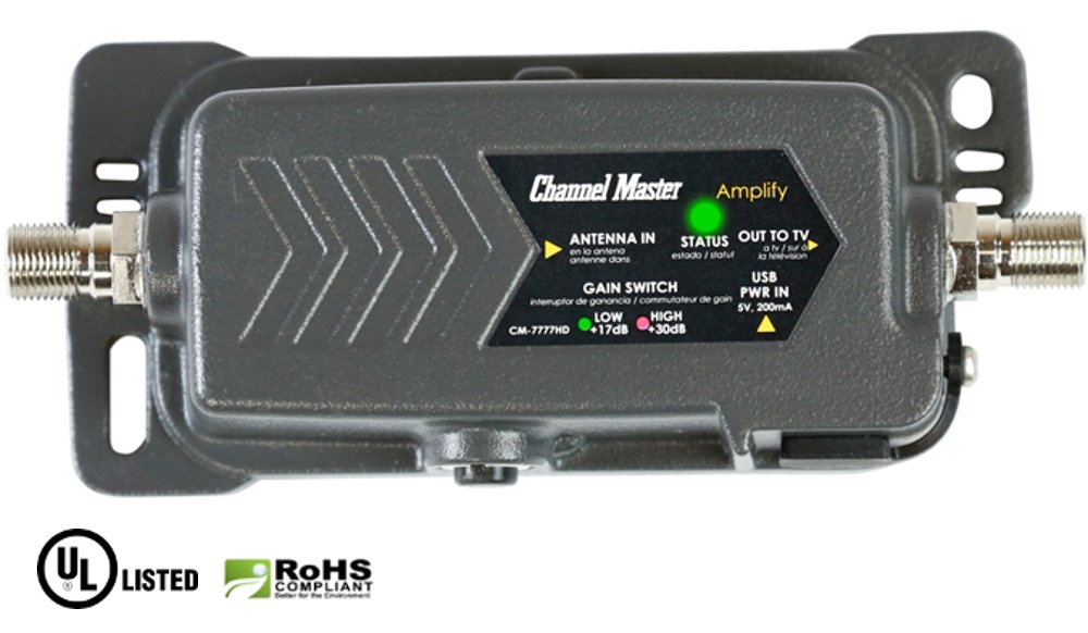 Channel Master CM-7777HD Heavy-Duty Weatherproof Adjustable Gain HDTV Preamplifier