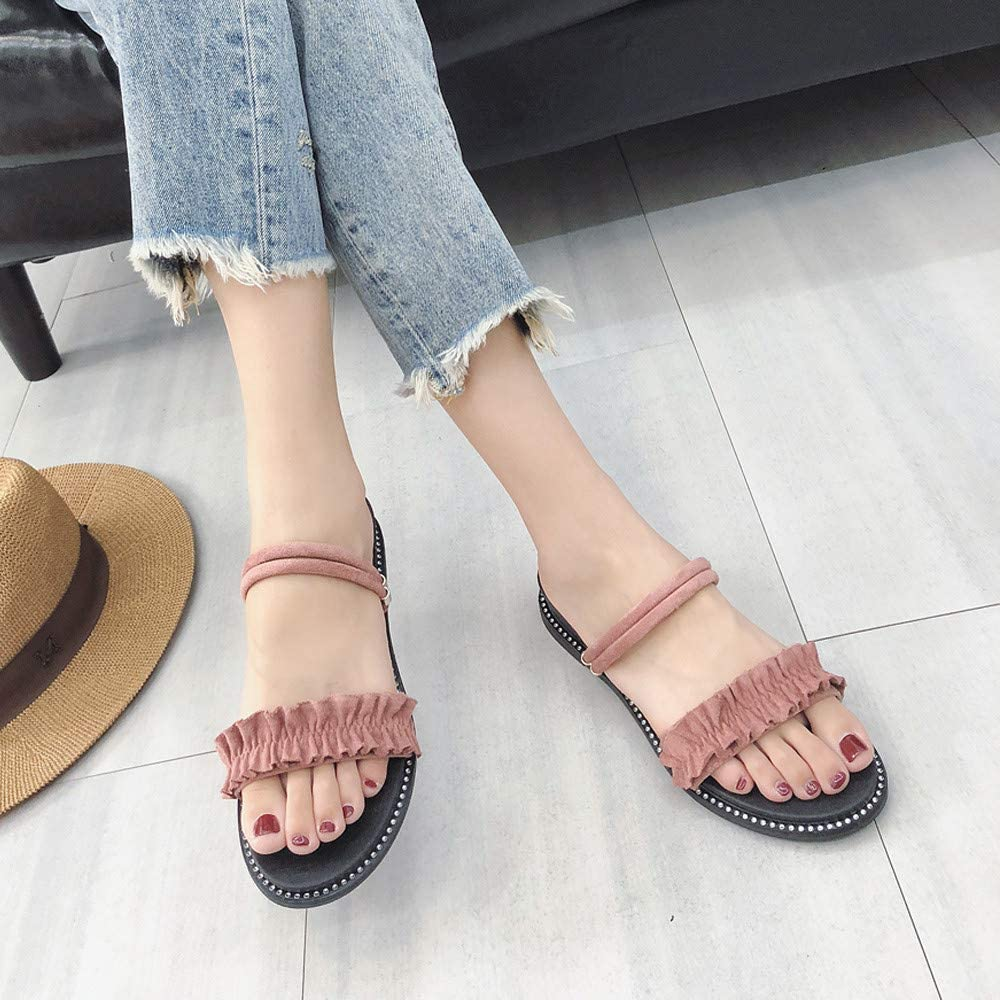 2Dxuixsh Fashion Beach Shoes Lace Flat with Flip-Flop Rhinestone Dual-Use Sandals and Slippers