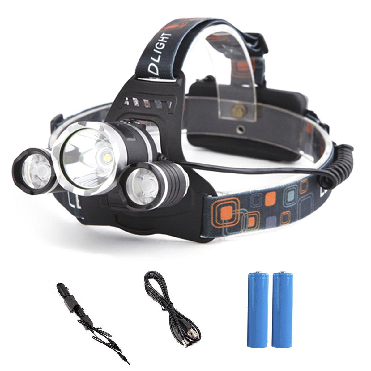GES 5000LM LED recargable antorcha de cabeza con 4 modos 3 T6 Focus casco de escalada impermeable ajustable linterna HeadLamp Headwear para ir de excursión acampar Caza Ciclismo pesca luz de seguridad GES Co. Ltd.