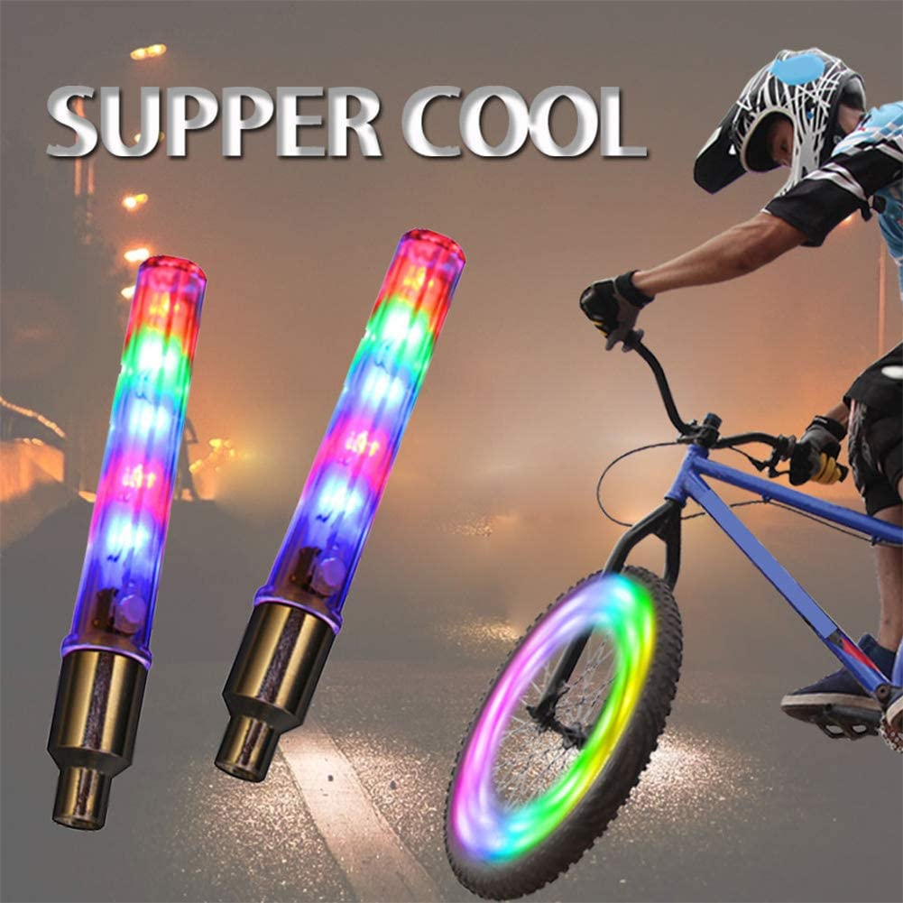 f/ácil de Instalar Bicicleta ENticerowts 2 Piezas de Luces LED para v/álvula de neum/ático de Bicicleta Luces de Seguridad Intermitentes para Coche