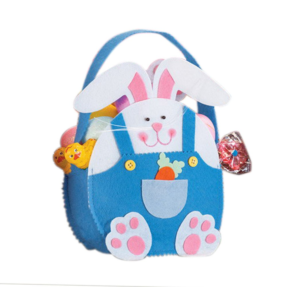 Easter Rabbit Gift Candy Bag Bunny Basket Cute Present Handbag Home Accessory for Children Kids Wedding Party (Blue) by Codiak-Organizers (Image #1)