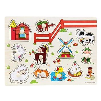 d2517133758e BOBORA Puzzles Infantiles de Madera Juegos Juguetes Educativos de Aprendizaje  Juguete Rompecabezas de Madera para Niños Pequeños de 1 Año (Animales de ...