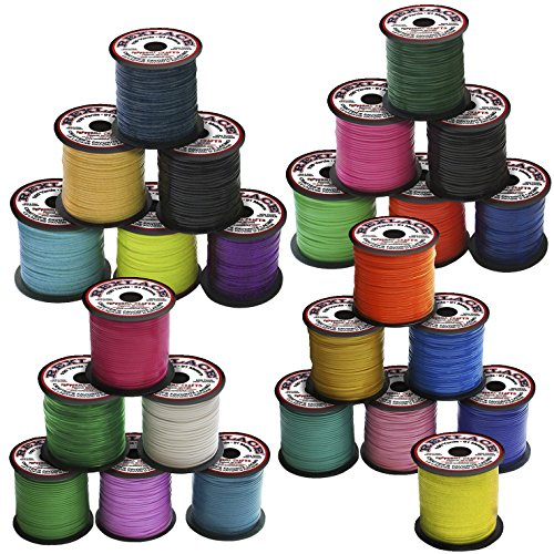 Pepperell Braiding Vinyl Flat Lacing - 100 yard x 3/32 inches Spools - Set of 25 - Assorted Colors -