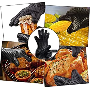 Silicone BBQ /Cooking Gloves -Meat Shredder Claws -Kitchen Tongs -Silicone Brush Set , Silicone Heat Resistant Grilling BBQ, Oven, Grill, Baking, Cooking / Oven Gloves & Barbecue Claws (Black Set)