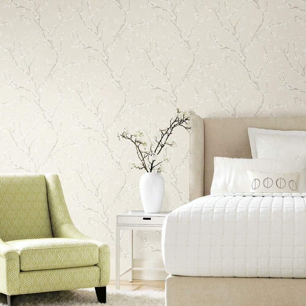 RoomMates RMK11271WP Beige Cherry Blossom Peel and Stick Wallpaper