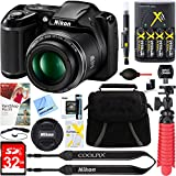 : Nikon COOLPIX L340 20.2 MP 28x Optical Zoom Digital Camera (Black) + 32GB Deluxe Accessory Bundle