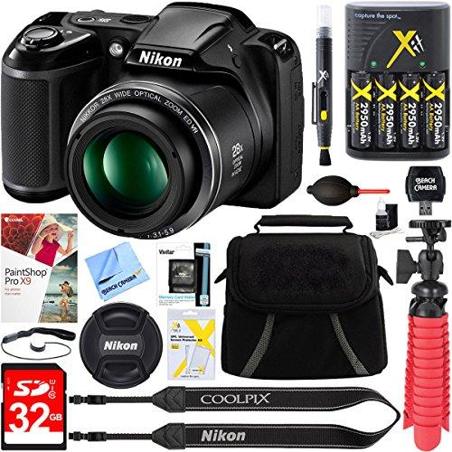 Nikon Coolpix L340 20.2 Mp 28x Optical Zoom Digital Camera (black) + 32gb Deluxe Accessory Bundle