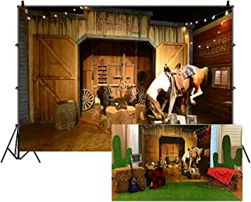 Yeele 10x8ft Photography Background Old Wild West Stable Texas Western Cowboy Horse in Barn Anvil Tree Trunk Lantern Saddle Mews Travel Party Events Photo Studio Props Photo Backdrop Wallpaper