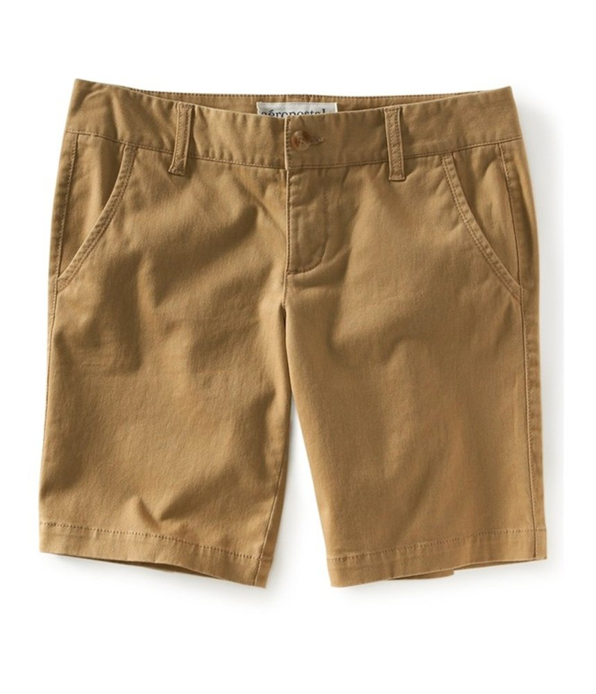 Aeropostale Womens Bermuda Twill Casual Chino Shorts Brown 2 - Juniors