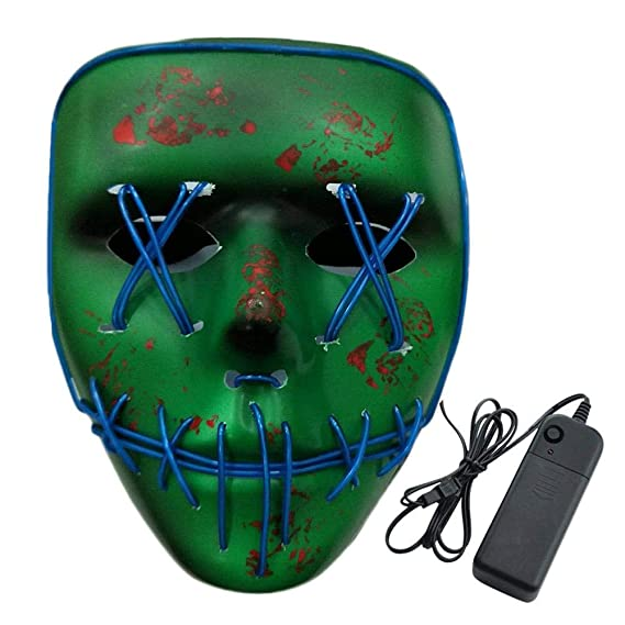 Amazon.com: Halloween LED Luminous Flashing Face Mask Skull Full Face Mask Horror Skeleton Cosplay Masquerade Scary EL Wire LED Light Flashing Mask Glow for ...