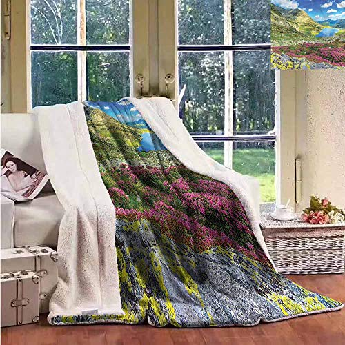 - Sunnyhome Flannel Double Blanket Mountain Icelandic Peaks Landscape Personalized Baby Blanket W59x31L