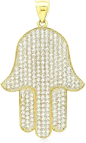 Hamsa Fatima Hand Pendant Charm 14K Yellow Gold Plated /& Simulated Diamond With Box Chain