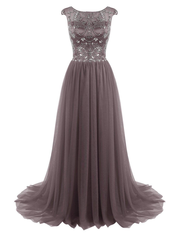 Long Grey Tulle Evening Dress: Amazon.com