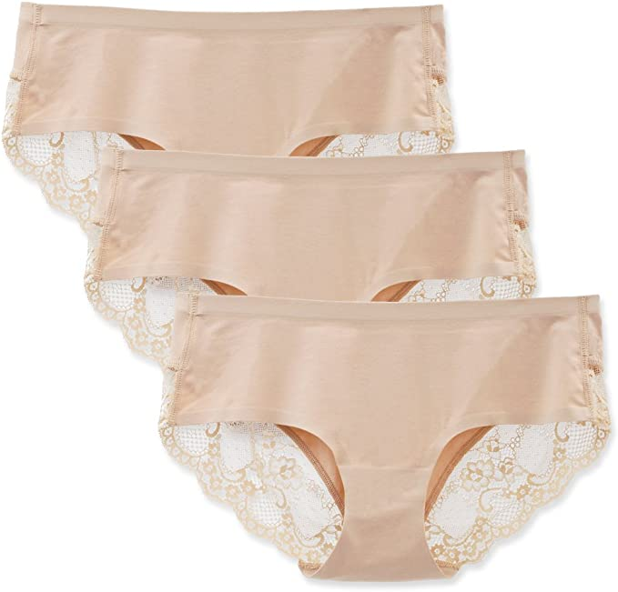 LIQQY 3 Pack de algodón de Cobertura de Encaje Mujer Breve Panty Ropa Interior sin Costuras: Amazon.es: Ropa y accesorios