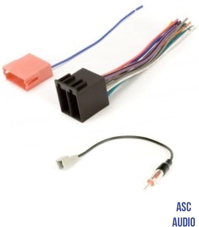 ASC Audio Arnés de cable de radio estéreo y adaptador de antena para radio de repuesto para algunos vehículos Kia y Hyundai.