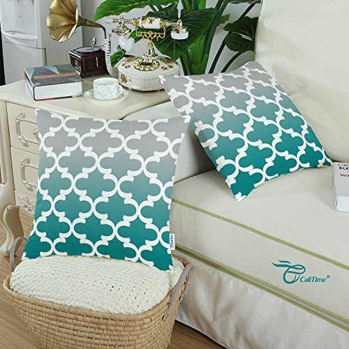 Pack of 2 CaliTime Canvas Throw Pillow Covers Cases for Couch Sofa Home Decor, Modern Gradient Quatrefoil Accent Geometric, 18 X 18 Inches, Gray/Teal