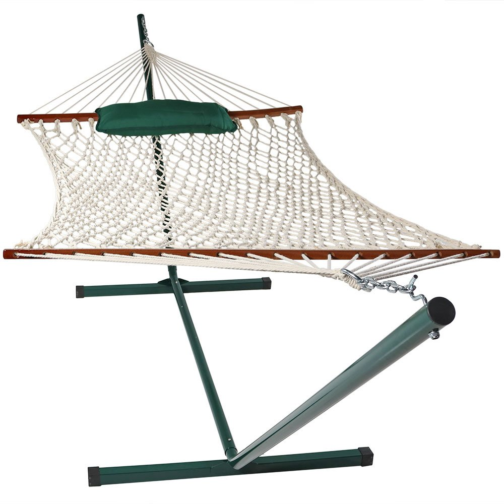 Sunnydaze Cotton Rope Hammock with 12 Foot Portable Steel Stand and Spreader Bar Indoor or Outdoor Use Pad and Pillow Included Awning Stripe