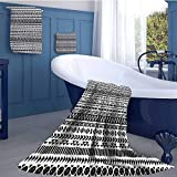 WolfgangDecor Striped Print bathroom accessories set Trippy Mystic Aztec Culture Figure Antique Aged Folk Old Bohemian Print Design Square scarf set Black White