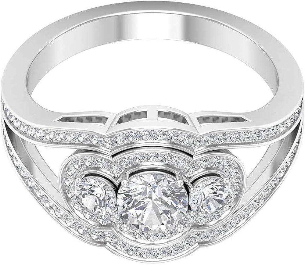 Anillo de compromiso de tres piedras de 1,12 quilates con halo dividido de diamante, 14K Oro blanco