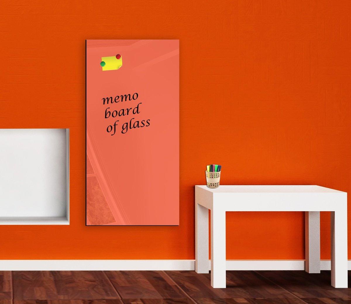 HitGlass Memoboard, Glas, magnetisch, trocken abwischbar, 100 cm x 50 cm, Orange