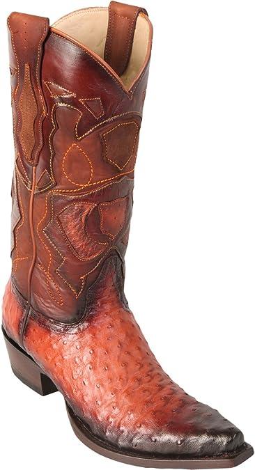 Original Faded Cognac Ostrich Leather Snip-Toe Boot