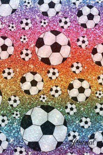 Journal: Faux rainbow glitter soccer notebook ()