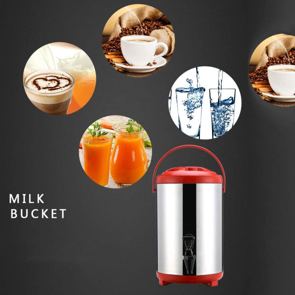 Meet The Needs of Many People Large Coffee Urn Stainless Steel Hot and Cold Water Kettle Dispenser Insulated Barrel with Cover and Faucet for Parties 8L//10L//12L Keep All Kinds of Drinks Warm
