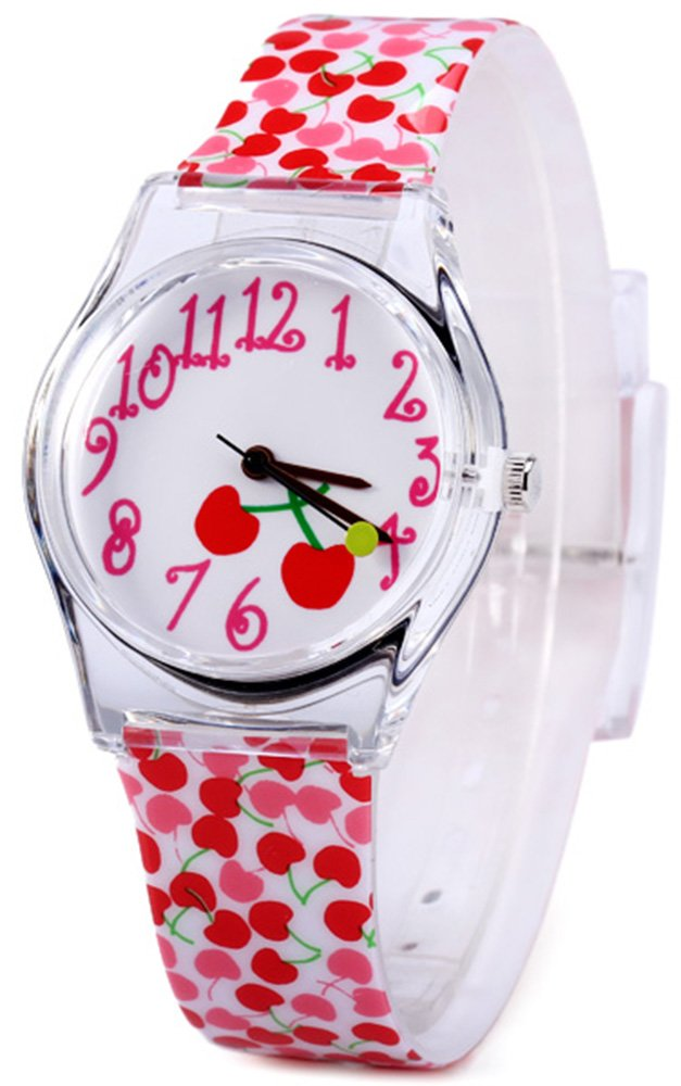 Kids Wristwatch Comfortable and Colorful Analog Watch Gift for Teen Young Stylish Girls Children Lovely Cherry
