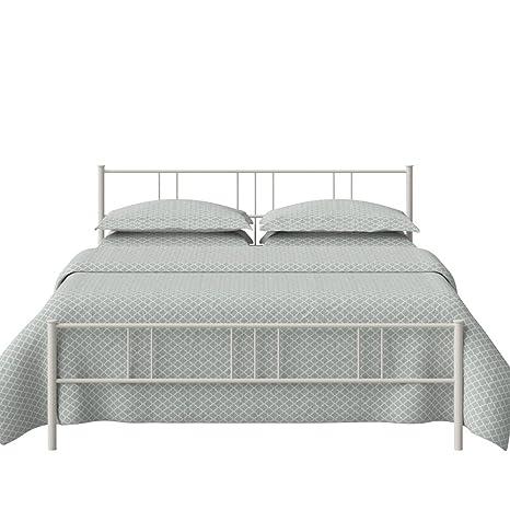The Original Bed Co. Cama De Metal Mortlake Cama De Estructura De Hierro Marfil Brillante