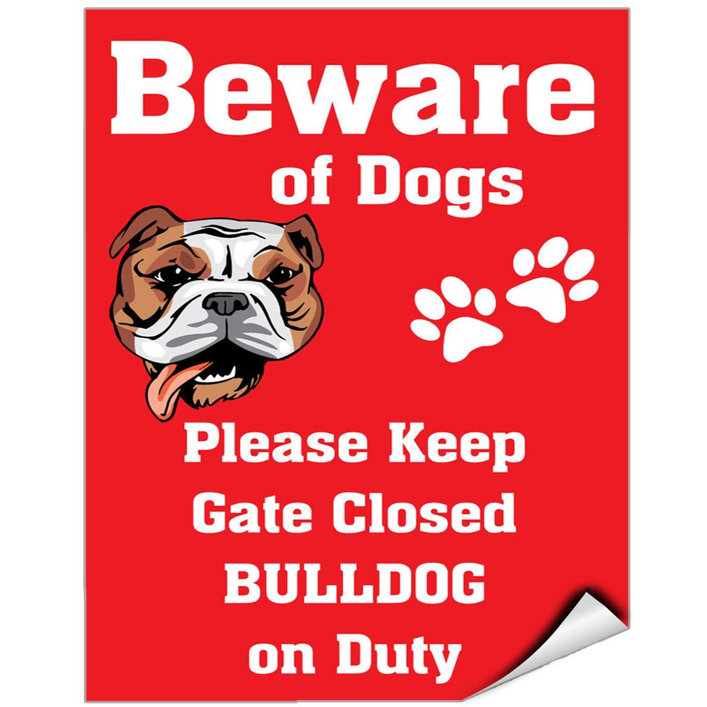 Beware Of Bulldog Dog On Duty Vinyl LABEL DECAL STICKER 9 inches x 12 inches by Fastasticdeals