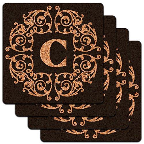 Letter Initial Scrolls Profile Coaster