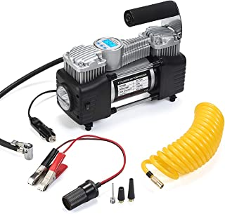 Tire Inflator, Air Compressor Pump Portable LIZESTAR 150PSI Heavy Duty Dual Cylinder Air Pump, 12V DC Inflator for Car, Large SUV, Bicycle, Dinghy, Air Bed etc and Other Inflatables