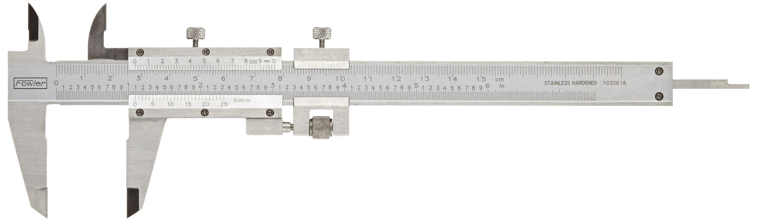 Fowler Full Warranty Vernier Caliper with Satin Chrome Finish and Stainless Steel Fine Adjustment, 52-058-016-0, 0-6''/0-150mm Measuring Range, 0.001''/0.02mm Graduation