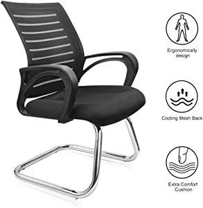 Office Chair, Lumbar Support Gaming Chair Meeting Conference Chair with Breathable Ergonomic Mesh Back Extra Comfort Foam Pad and Robust Steel Base Home Office Chair - Black, 180lb Capacity