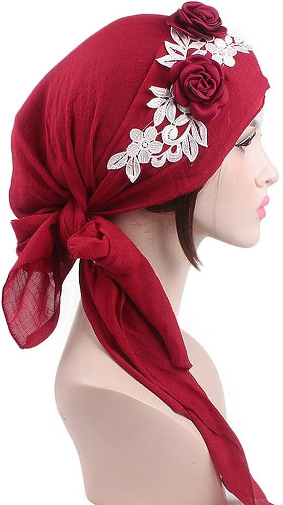 iBaste Baumwolle Turban Damen Kappe Muslime Kopftuch f/ür Haarausfall Krebs Chemo Kopfbedeckung Kopftuch Set