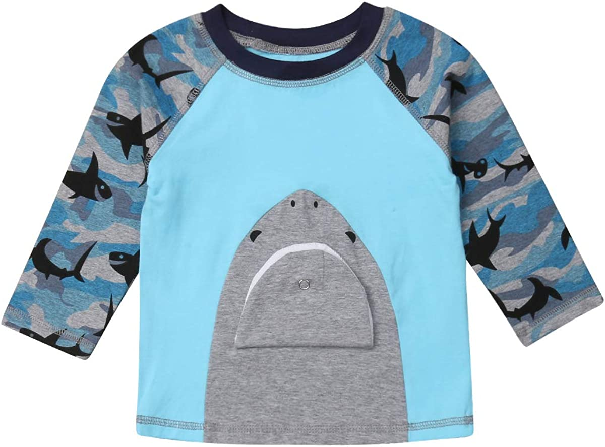 Infant Baby Kid Boys Long Sleeve Shark Cartoon T-Shirt Top Camo Hoodies Pullover Sweatshirt with Pocket Outfit