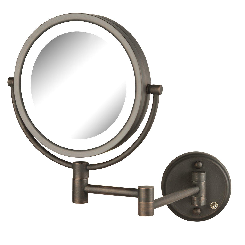 Jerdon HL88BZL 8X-1X Magnification LED Lighted Wall Mount Mirror, Bronze Finish by Jerdon