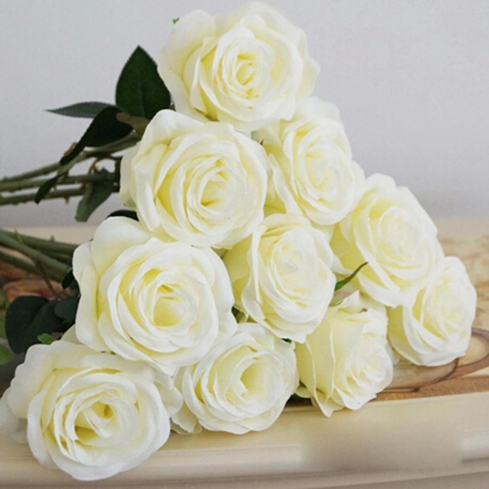 Artificial Silk Fake Real Touch Rose Flower Stem for Wedding Party Decoration White JAROWN