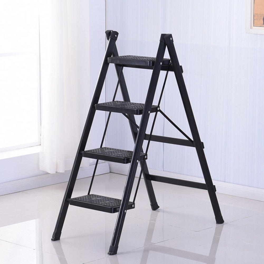 4段折り畳みラダー家庭4段階4段二重使用屋内スツールノンスリップペダルヘリングボーン (色 : ブラック) B07D9XY4LQ ブラック ブラック