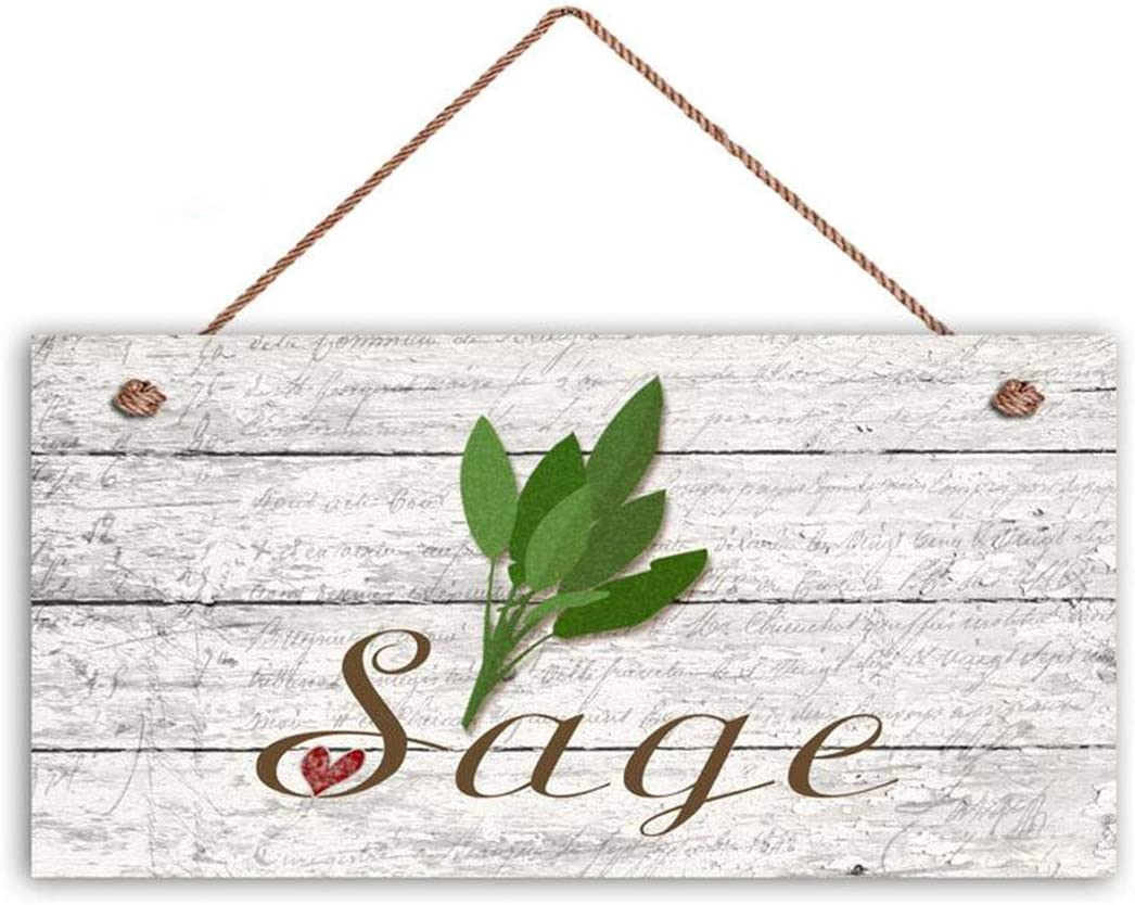 "MAIYUAN Sage Sign, Garden Sign, Rustic Decor, Herb on Distressed Wood, 6"" x 12"" Sign, House Gift, Gift for Gardener(EDB151)"