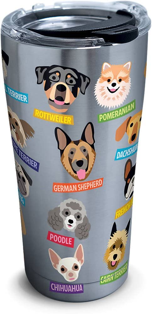 Tervis Flat Art - Dogs Stainless Steel Tumbler with Clear and Black Hammer Lid 20oz, Silver