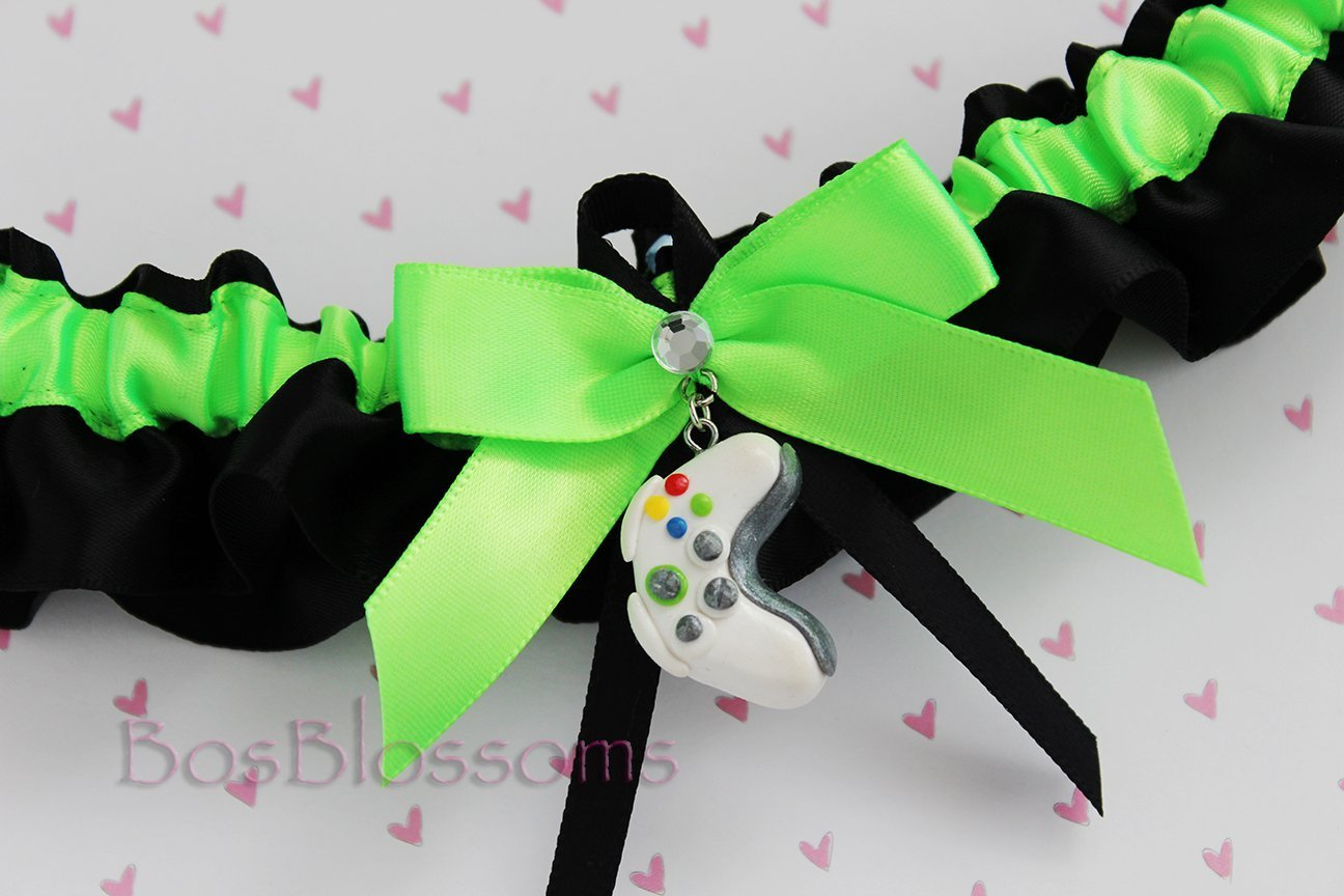 Customizable Handmade - XBOX gamer bridal prom wedding garter - green with white and gray remote control