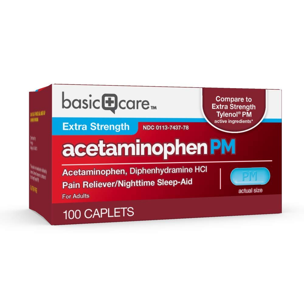 Basic Care Extra Strength Acetaminophen PM Caplets, 100 Count by Basic Care (Image #3)