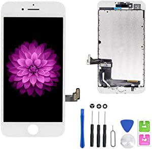 for iPhone 7 Screen Replacement White (4.7''), LCD Display & Touch Screen Digitizer Frame Assembly Set with Free Repair Tool