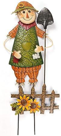 Decoración De Jardín Escultura Simulada Espantapájaros Jardín Ironiron Crafts Ornamentos Decorativos del Paisaje del Jardín Scarecrow B-33 * 7 * 90CM: Amazon.es: Hogar