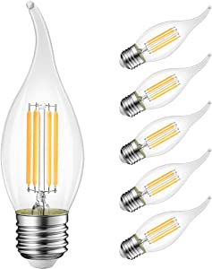 Flame Tip LED Filament Bulb Candelabra E26 Base,LVWIT Dimmable 4.5W (40W Equivalent) B11 Chandelier Candle Light Bulb,3000K Soft White 6-Pack