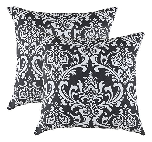 Damask Pillowcase (TreeWool 2 Pack Throw Pillow Covers Damask Accent Decorative Pillowcases Toss Pillow Cushion Shams Slips Covers for Sofa Couch (18 x 18 Inches/45 x 45 cm; Black), White Background)